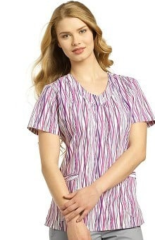 White Cross Women's V-Neck Line Print Scrub Top