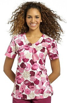 Clearance White Cross Women's V-Neck Floral Print Scrub Top