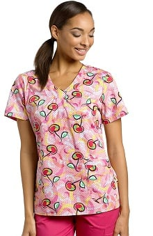 White Cross Women's V-Neck Cherry Print Scrub Top