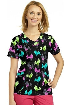 White Cross Women's V-Neck Bird Print Scrub Top