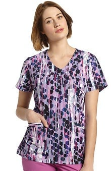 Clearance White Cross Women's V-Neck Dot Print Scrub Top