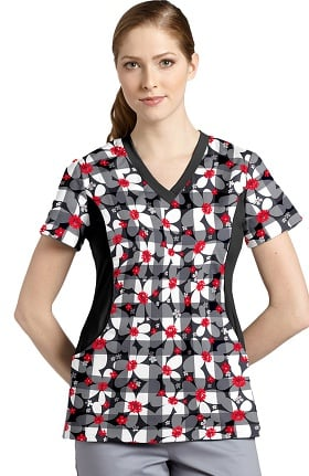 Clearance White Cross Women's V-Neck Stretch Side Floral Print Scrub Top
