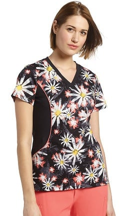 Allure by White Cross Women's Notch Neck Stretch Side Floral Print Scrub Top