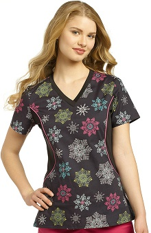 White Cross Women's Notch Neck Stretch Side Snowflake Print Scrub Top