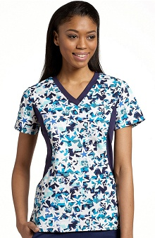 White Cross Women's V- Neck Stretch Side Star Print Top