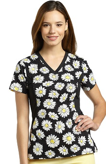 Allure by White Cross Women's Side Stretch Floral Print Scrub Top