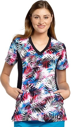 White Cross Women's V-Neck Side Panel Tropical Print Scrub Top