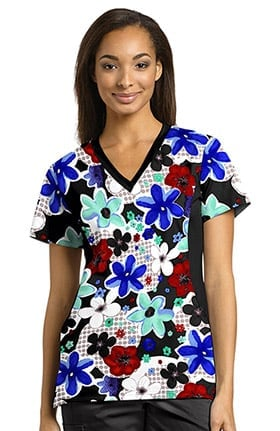 Allure by White Cross Women's V-Neck Side Panel Floral Print Scrub Top