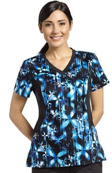 Clearance Allure By White Cross Women's V-Neck Stretch Side Floral Print Scrub Top