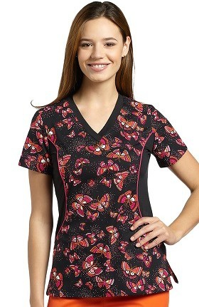 Allure by White Cross Women's Side Stretch Butterfly Print Scrub Top