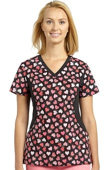 Allure by White Cross Women's Side Stretch Heart Print Scrub Top