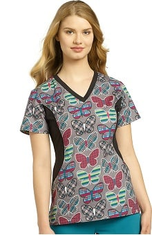White Cross Women's Notch Neck Stretch Side Butterfly Print Scrub Top