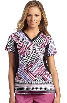 Clearance White Cross Women's V-Neck Stretch Side Geometric Print Scrub Top
