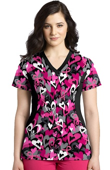 White Cross Women's V-Neck Stretch Side BCA Print Scrub Top