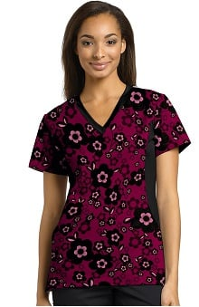 Allure by White Cross Women's Notch Neck Stretch Side Floral Print Scrub Top