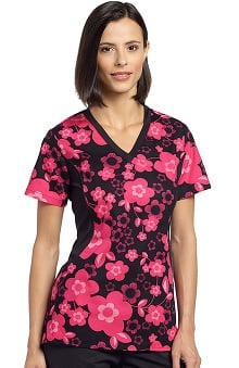 White Cross Women's V-Neck Side Panel Floral Print Scrub Top