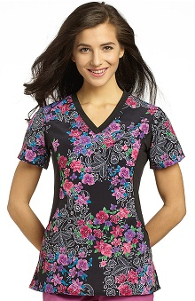 White Cross Women's Notch Neck Stretch Side Lace Print Scrub Top