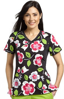 Allure By White Cross Women's V-Neck Stretch Side Floral Print Scrub Top