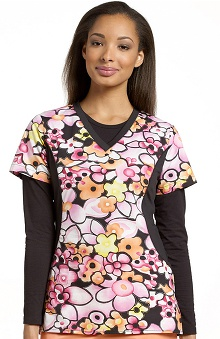 Clearance White Cross Women's V-Neck Stretch Side Flower Print Top