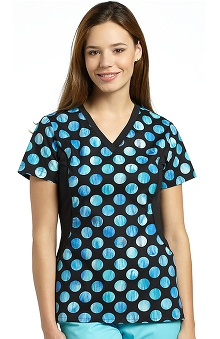 Allure by White Cross Women's Side Stretch Dot Print Scrub Top