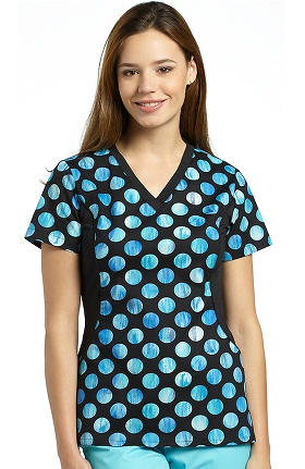 Allure by White Cross Women's Side Stretch Dot Print Scrub Top