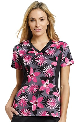 White Cross Women's Notch Neck Stretch Side Floral Print Scrub Top