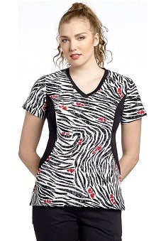 White Cross Women's V-Neck Side Panel Animal Print Scrub Top
