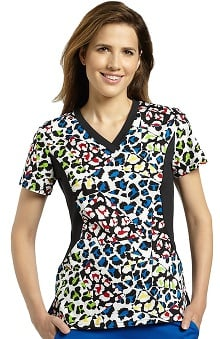 Allure by White Cross Women's Side Stretch Animal Print Scrub Top