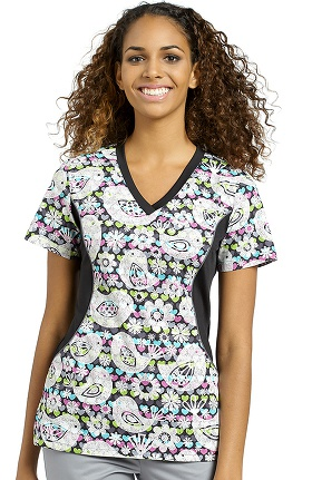 Clearance Allure by White Cross Women's Side Stretch Floral Print Scrub Top