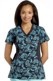 Allure by White Cross Women's V-Neck Stretch Side Print Scrub Top