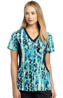 White Cross Women's V-Neck Side Panel Abstract Print Scrub Top