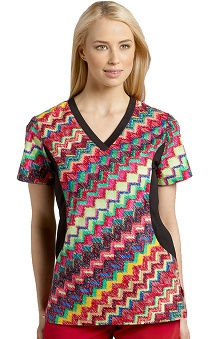 Clearance White Cross Women's V-Neck Stretch Side Wild Wave Print Scrub Top