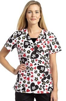 Clearance Marvella by White Cross Women's Mock Wrap Heart Print Scrub Top