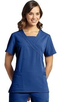 Marvella by White Cross Women's Mock Wrap with Insert at Neckline Solid Scrub Top