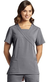 Clearance Marvella by White Cross Women's Mock Wrap with Insert at Neckline Solid Scrub Top