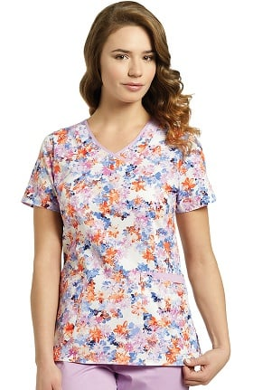 White Cross Women's Curved V-Neck Floral Print Scrub Top