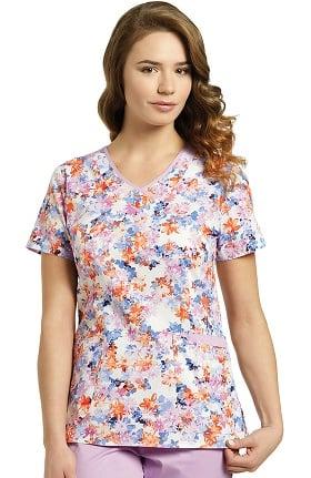 White Cross Women's Curved V-Neck Floral Print Scrub Top