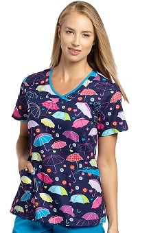 Allure by White Cross Women's Y-Neck Umbrella Print Scrub Top