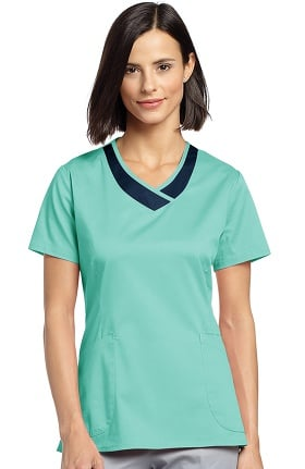 Allure by White Cross Women's Curved V-Neck Solid Scrub Top