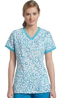 Clearance White Cross Women's V-Neck Spot Print Scrub Top