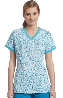 Clearance White Cross Women's V-Neck Abstract Print Scrub Top