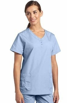 White Cross Women's Button Trim V-Neck Solid Scrub Top