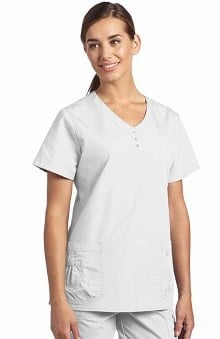 Clearance White Cross Women's Button Trim V-Neck Solid Scrub Top