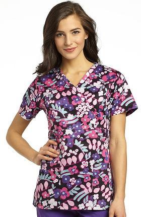 Marvella by White Cross Women's Mock Wrap floral Print Scrub Top