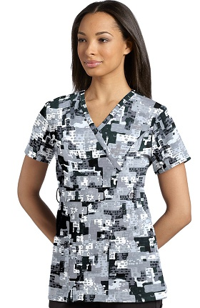 Clearance Marvella by White Cross Women's Mock Wrap Abstract Print Scrub Top