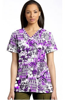 Marvella by White Cross Women's Mock Wrap Abstract Print Scrub Top