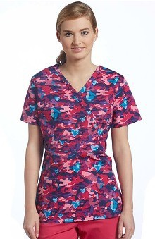 Clearance Allure by White Cross Women's Mock Wrap Heart Print Scrub Top