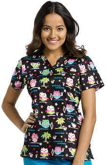 Clearance White Cross Women's Crossover V-Neck Owl Print Scrub Top
