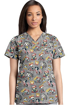 Clearance White Cross Women's Crossover V-Neck Dental Print Scrub Top