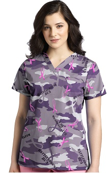 White Cross Women's Crossover V-Neck Camouflage Print Scrub Top